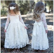 Girls Kids Baby Princess Long Sleeve Lace Dress Party Wedding Flower Girl Dress
