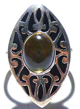 DESIGNER DP INDIA YELLOW CRYSTAL THICK STERLING SILVER COCKTAIL RIGN SIZE 10