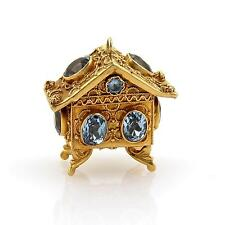 Vintage Etruscan 12ct Blue Topaz 18k Yellow Gold House Charm Pendant
