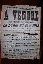 ✒ IFFENDIC MONTFORT sur MEU - ILLE et VILAINE - Placard vente enchères 1918