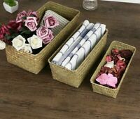 Straw Storage Box Baskets Rattan Fruit Veggies Makeup Organizer Woven Containers
