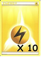 10 X POKEMON ELECTRIC / LIGHTNING ENERGY CARDS - NEW - UNUSED (10 Cards)