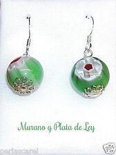 PENDIENTES de PLATA de ley y MURANO Multicolor 12 mm tonos Verdes. Preciosos