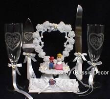 SUPER Mario Wedding Cake Topper LOT Glasses Knife Server Princess Peach Video