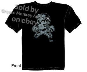 Skull & Pistons T shirt Kustom Kulture Apparel Ace Bomber Tee, Sz M L XL 2XL 3XL