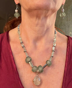 Phrenite, Sterling Silver, Bali, glass beads Handcrafted Necklace and earrings