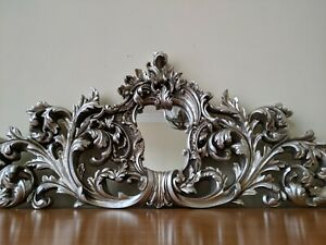 New SILVER Pewter French Louis Vintage Antique Ornate OVERMANTEL Wall Mirror