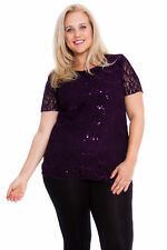 Ladies Plus Size Top Sequin Party Womens Shirt Glitter Floral Lace Nouvelle Purple 24-26