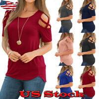 New Womens Summer Cold Shoulder Tee Top Short Sleeve Blouse Casual T-Shirt S-2XL
