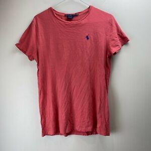 Ralph Lauren Sport Women's Red Crew Neck Logo Basic Tee T-Shirt Top Size M