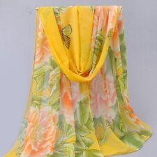 Foulard 160 X 50 cm Mousseline de Soie Jaune - Motif grandes fleurs - Pivoine -