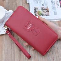 Women PU Leather Long Wallet Zipper Credit Card Coin Purse Clutch Purse