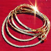 "14k Yellow gold necklace 16.25"" Italian c-link chain vintage handmade 3.0gr"