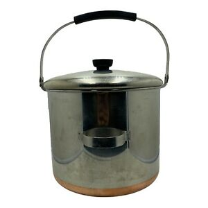 Vintage Revere Ware copper clad bail handle 8 quart 8qt stock pot & lid