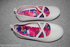 Toddler Girls Shoes WHITE BALLET FLATS Faux Leather CRISS CROSS STRAPS Size 8