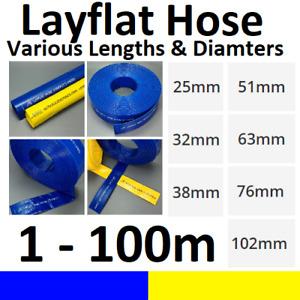 Blue Yellow PVC Layflat Hose Discharge Irrigation Lay Flat 4 BAR Rated