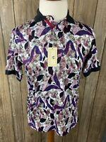 Thomas Wilson Mens White Burgundy Purple Polo Shirt Size Small