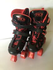 Roller Derby Skates Quad Rollers Kid Size 3-6 Black And Red Great Condition Uni