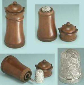 Antique Carved Wood Castle Sewing Kit w/ English Sterling Silver Thimble *1901