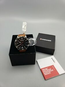 New WENGER Men's ROADSTER Black Night Brown Leather Watch 01.1841.105  NIB