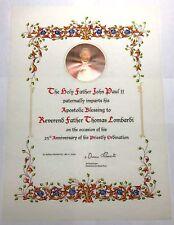 Apostolic Blessing 25 Yrs as Priest-  Pope John Paul II - Sealed - Signed Oscar
