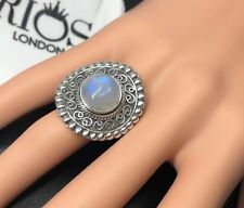 Superb Round Moonstone 925 Sterling Silver Gemstone Ring RRP £47.99 Gift Boxed