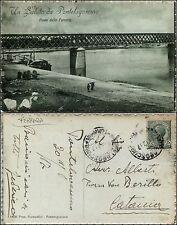 Pontelagoscuro, Ferrara, un saluto da, ponte della ferrovia con treno, viag.1917