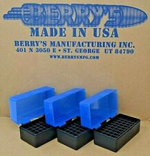 223 /.222 caliber New 50 Round Plastic Ammo Boxes (3-Pack Blue / Black)
