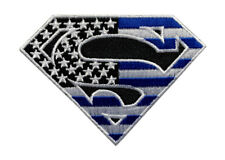 Miltacusa Superman USA Flag Thin Blue Line Police Patch (Iron on Sew on - MSP-9)