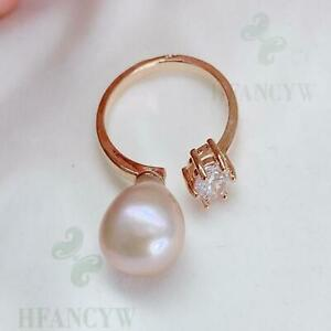 10-11mm Pink Baroque Pearl Open Adjustable Zircon 14k Gold Ring Natural Jewelry
