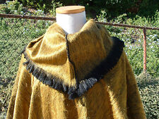 NEW Alpaca fleece dark yellow poncho cloak cape cowl neck unisex O/S