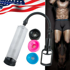 "8"" POWER Vacuum Penis Pump Enlarger with 3 Sizes Sleeves Men USE [US Stock]"
