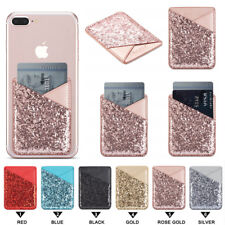 Glitter Mobile Phone Credit Card Holder Pouch Pocket Stick On iPhone Samsung