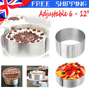 """Cake Ring Adjustable 6-12"""" Mold Round Mousse Mould Stainless Steel Baking Tool ~"""