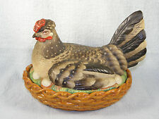 Large Antique Staffordshire Pottery Hen / Chicken On A Nest - Hand Painted
