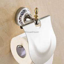 Chrome Bathroom Toilet Paper Roll Holder Wall Mounted Tissue Paper Storage Shelf