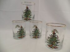 Four Spode Christmas Tree Glass Tumblers Double Old Fashions Glasses Gold Trim
