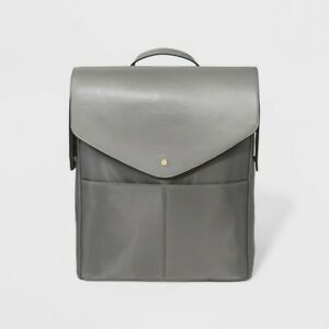 Commuter Backpack / Bag Flap Top  Gray - A NEW DAY Shoulder Straps Hand Hold NEW