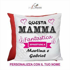 FESTA DELLA MAMMA Cuscino Quadrato con nome personalizzato miglior mamma regalo