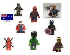 Superhero minifigures Hulk Batman Thor Spiderman Superman Captain America Lego