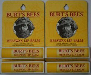 4 x Burt's Bees Vitamin E & Peppermint Moisturizing Lip Balm .15 oz each - New