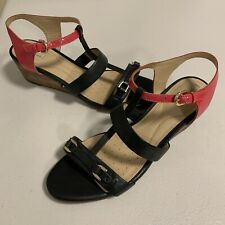 GEOX Wedge Heel Leather Sandals Womens 39.5 Navy Pink T-Strap Slingback Shoes