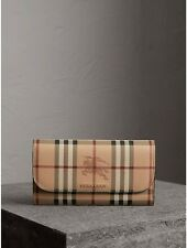 BURBERRY HAYMARKET CHECK AND LEATHER SLIM CONTINENTAL WOMEN'S WALLET MID CAMEL