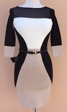 Bebe Colorblock Dress Mini Sweater Dress 3/4 Sleeve White Black Brown S $109 NWT