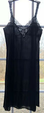 Vintage Black Vassarette Nylon Underneath-It-All Full Slip Size 38 F