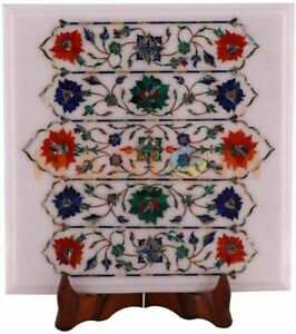 """14""""x12"""" White Marble Coffee Table Top Precious Floral Inlay Home Decorative W540"""