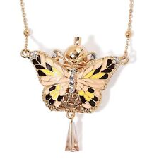 VICTORIAN STYLE POISON FLASK LADIES BUTTERFLY NECKLACE FRAGRANCE PERFUME BOTTLE