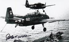 John T. Wolf WWII Ace 7 Vic, Hellcat, Battle of Jima, USS Hornet SIGNED PHOTO