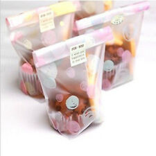 100PCS Plastic Chocolate Cookies Favor Candy Bags Frosted Pouch Pink-Blue