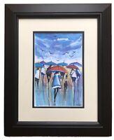 Original Modern Urban Art Watercolour Painting 'Umbrella Day' By James Ndox